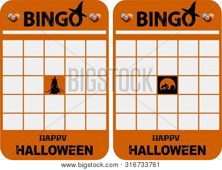 Halloween Themed Blank Orange Bingo Cards With Decorated Bingo And Halloween Text Balls Witch And Gr