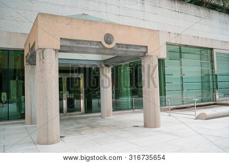 Washington, Dc - August 5, 2019: Exterior Entrance For The Canadian Embassy, Located On Pennsylvania
