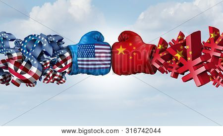 China Yuan And American Dollar Fight As United States Chinese Currency Dispute And Trade War As An E