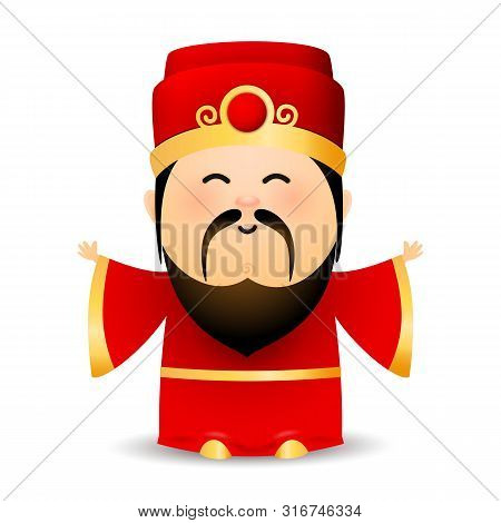Wise Old Chinese Man In Red Dress. Spiritual Elderly Bearded Man In Hat. Can Be Used For Topics Like