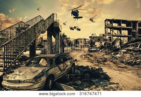 Military Helicopters Carrying Car & Forces In Destroyed City, Houses And Cars At Unfair War/aerial B