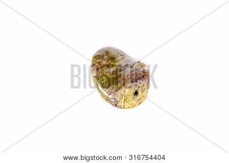 Macro Mineral Stone Serpentine On A White Background