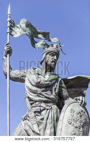 Leon, Spain - June 25th, 2019: Alfonso Ix, 12th Century King Of Leon And Galicia. Monument At Santo
