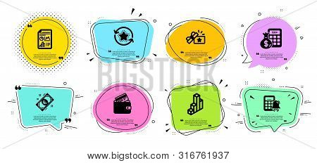 Loyalty Gift, 3d Chart And Report Document Line Icons Set. Chat Bubbles With Quotes. Debit Card, Fin