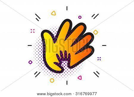 Social Responsibility Sign. Halftone Circles Pattern. Hand Icon. Honesty, Collaboration Symbol. Clas