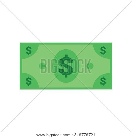 Dollar Bill Vector Icon, Flat Illustration. Flat Vector Cartoon Money Illustration. Objects Isolated