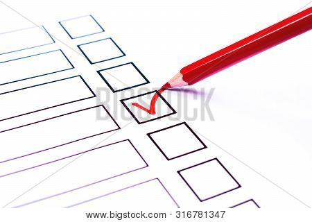 White Bulletin With Checkboxes And Red Pencil And Tick Drawn As Positive Selection Signs. Elections,