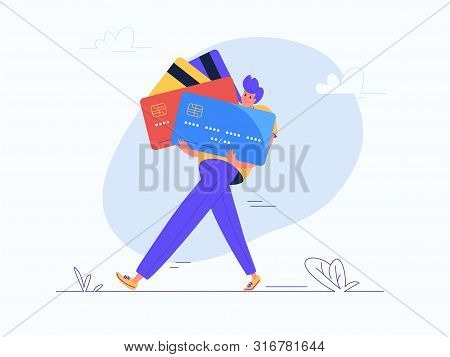Young Man Carrying Some Heavy Credit Cards. Flat Modern Concept Vector Illustration Of Burden Of Cre