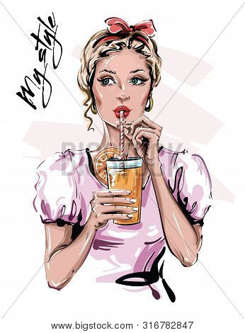Hand Drawn Beautiful Young Woman With Drink. Stylish Pin-up Girl With Head Accessory. Fashion Woman