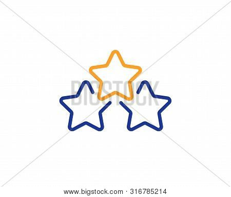 Star Rating Sign. Ranking Stars Line Icon. Best Rank Symbol. Colorful Outline Concept. Blue And Oran