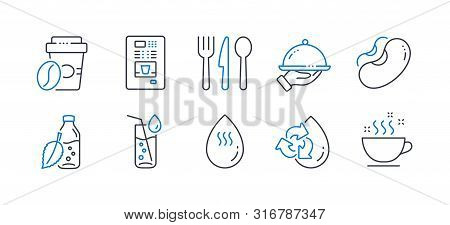 Set Of Food And Drink Icons, Such As Recycle Water, Food, Water Bottle, Restaurant Food, Beans, Coff