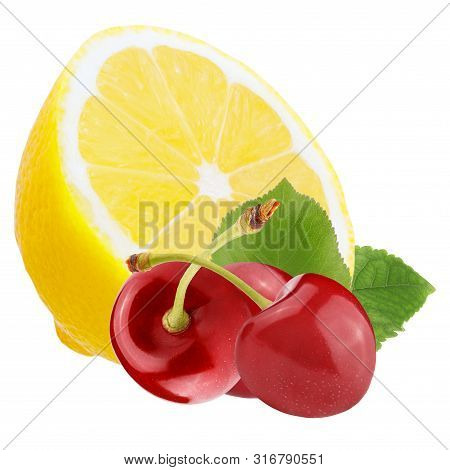 Fresh Berries With Lemon Isolated On White Background