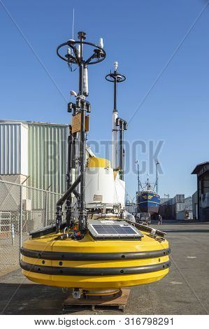 Fairhaven, Massachusetts, Usa - August 11, 2019: Fugro Seawatch Wind Lidar Buoy Waiting To Be Deploy