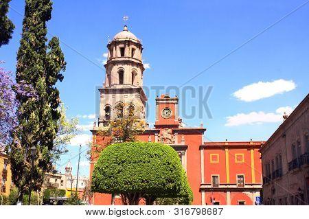 Cathedral and belltower in Santiago de Queretaro, Mexico, North America. Summer day