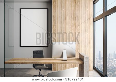 White Blank Poster On Concrete Wall In Modern Office In Skyscraper