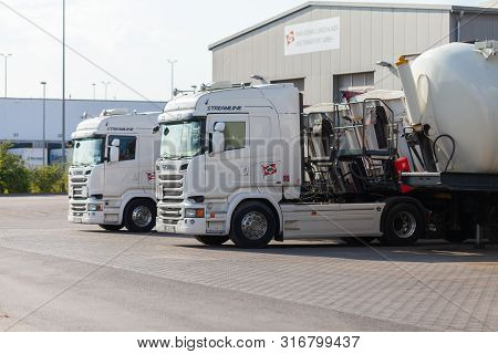 Nuremberg / Germany - August 4, 2019: Scania R 520 Truck From A Forwarder Company Mdu Stands On A St