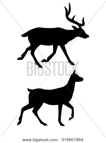 Vector Flat Black Silhouette Of Deer Isolated On White Background
