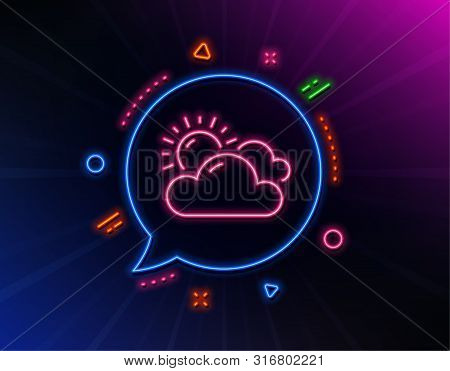 Sunny Weather Forecast Line Icon. Neon Laser Lights. Clouds With Sun Sign. Cloudy Sky Symbol. Glow L