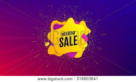 Weekend Sale. Dynamic Text Shape. Special Offer Price Sign. Advertising Discounts Symbol. Geometric
