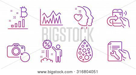 Artificial Colors, Bitcoin Graph And Discount Line Icons Set. Heart, Share Call And Investment Signs