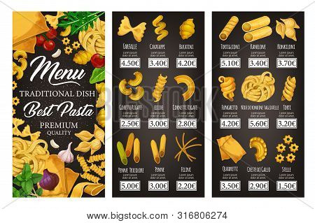 Italian Cuisine Restaurant Vector Menu Of Pasta, Spaghetti And Macaroni With Spices And Herbs. Penne