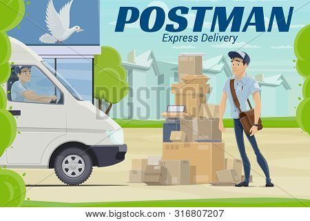 Mail Delivery Postal Service Vector Design Of Postman Or Courier Standing Near Post Office With Parc