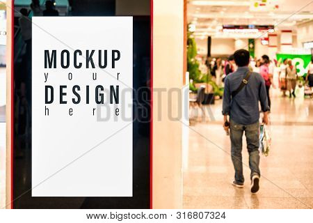 Mockup Blank Advertising Billboard Or Advertising Light Box For Your Text Message Or Media Content I