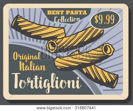Tortiglioni Pasta Of Italian Cuisine Vector Design. Tube Shaped Macaroni With Vertical Ridges, Tradi
