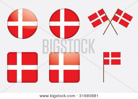 set of badges with Danish flag vector illustration poster