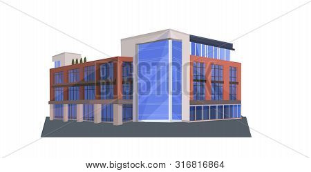 Modern Corporate Office Building Icon Business Center Exterior With Large Panoramic Windows Flat Hor