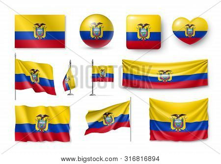 Various Flags Of Ecuador Independent Country Set. Realistic Waving National Flag On Pole, Table Flag