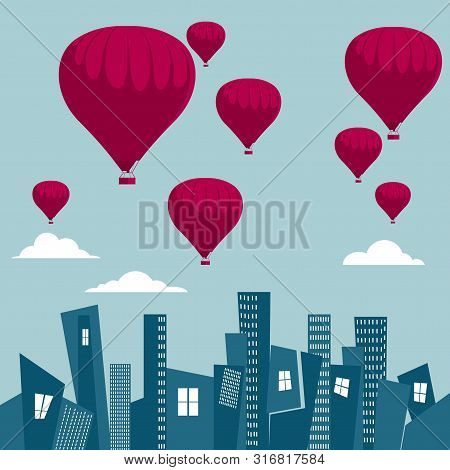 Vector Drawn Hot Air Balloon. Over The City. The Background Is Blue.