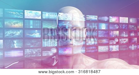 Video Monitors Entertainment Multimedia Technology Content Background 3D Render