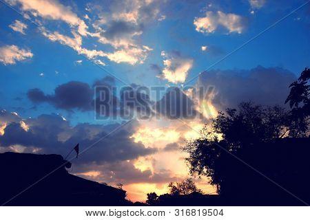 Glorious Sunrise, Beautiful Blue Sky With Clouds.