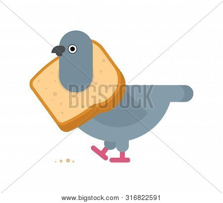Pigeon On Neck Of Bread. Vector Illustration