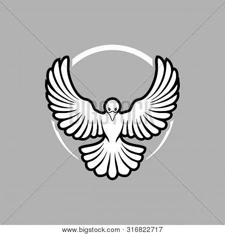 Simple Dove Icon. The Dove Flies The Icon Of Peace Art. The Concept Of Peace. Draw The Concept Of Pa