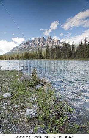 scenic view of castle mountain in banff