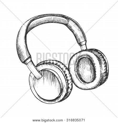 Melomane Accessory Wireless Headphones Ink Vector. Portable Bluetooth Speakers Headphones For Listen