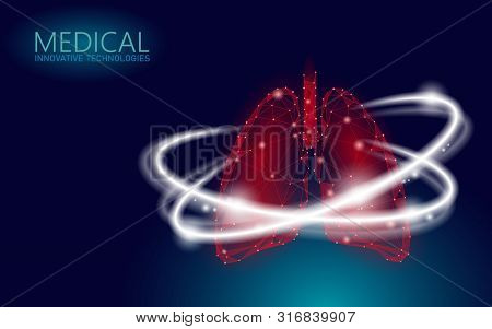 Human Lungs 3d Health Care Recovery Medical Concept. Low Poly Internal Organ Avoid Disease Quit Smok