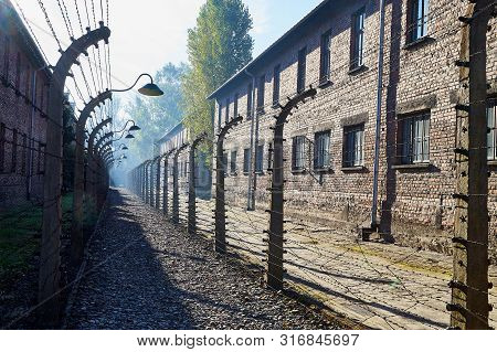 Auschwitz, Poland - September 30, 2018: The Biggest Concentration Camp Auschwitz In Europe During Wo