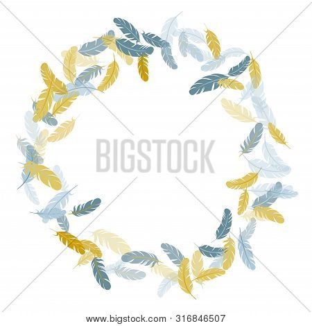 Tender Silver Gold Feathers Vector Background. Plumage Bohemian Fashion Shower Decor. Detailed Majes