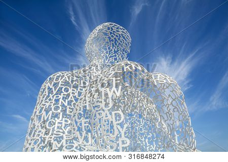 Antibes, France - July 17, 2019: View Of Nomade Sculpture From The Spanish Artist Jaume Plenza In An