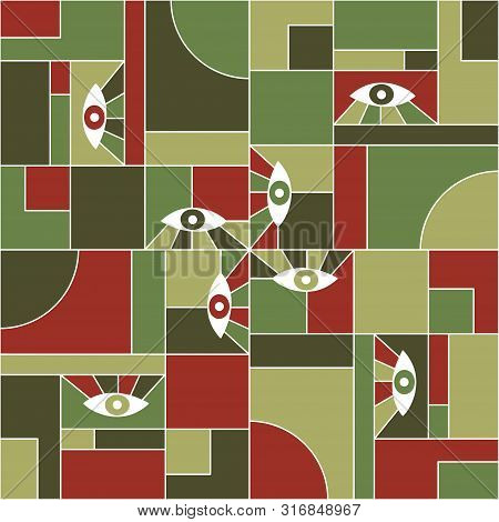 Furniture Bauhaus Geometric Seamless Pattern With Eyes. Abstract Vector Cubism Pattern Fabric Print.