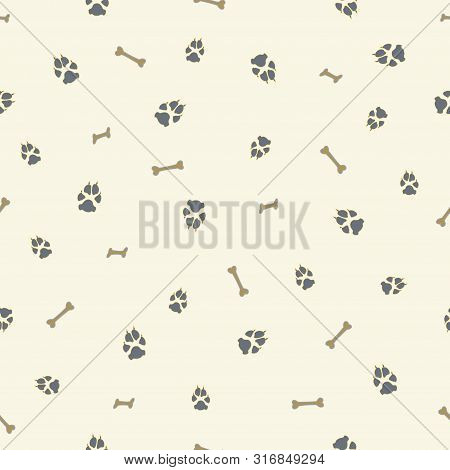Colorful Dog Footprint And Bone Vector Seamless Pattern. Cool Paw Bone Seamless Template, Isolated O