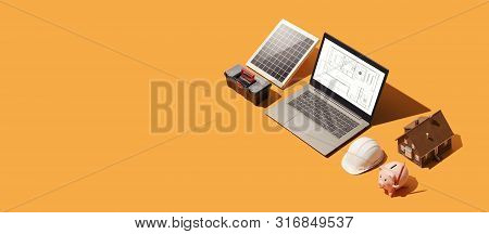 Home Renovation, Repair And Construction: Desktop With Laptop, Work Tools And Model House