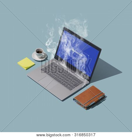 System Failure And Overheating Computer With Smoke On A Desktop: Computer Problems And Overwork Conc