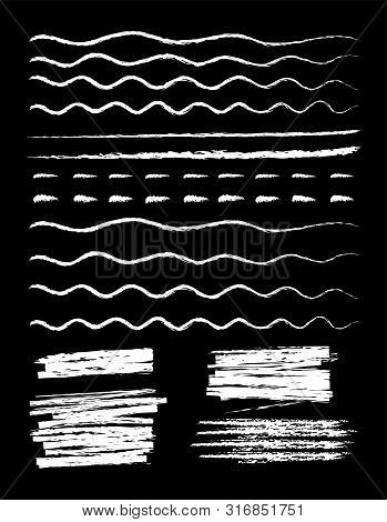 Chalk Marker Style Hand Drawn Lines Set Vector Illustration. Collection Of Wavy, Dashed And Straight