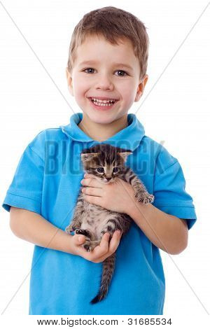 Smiling little boy with kitty in hands, isolated on white poster