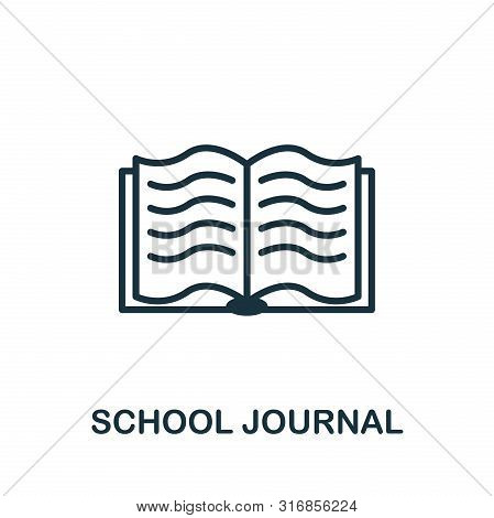 School Journal Vector Icon Symbol. Creative Sign From Education Icons Collection. Filled Flat School