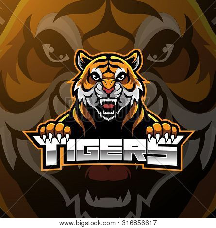 Tiger Face Mascot Logo Design With Text